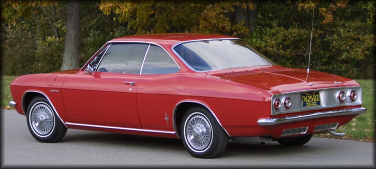 1965 Corvair Corsa sport coupe in Regal Red